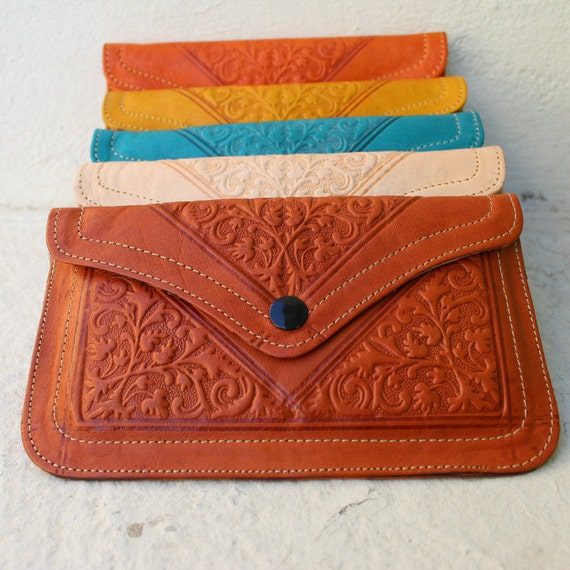 FREE SHIPPING!Leather wallet, womens wallet, orange wallet, pochette femme