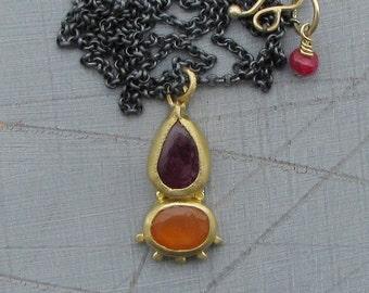 22k Gold Pendant -  Ruby & Carnelian Pendant - Solid Gold Pendant - 22k Gold Necklace - Ethnic Gold Necklace
