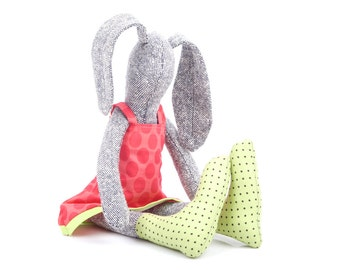 stuffed soft bunny doll - Plush knitted silk gray rabbit , in dotted fuchsia pink dress & green socks , toddler upcycled eco toy gift idea