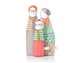 Valentine Family Portrait dolls - Parents & boy , handmade soft sculpture dolls ,3-D family portrait , likeness eco look alike cloth dolls