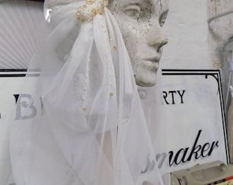 Bridal veil with Swarovski crystals- handmade.