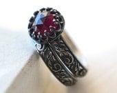 Garnet Wedding Set, Natural Stone Engagement Ring, Women's Oxidized Silver Renaissance Wedding Band, Custom Engraving