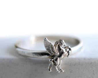 Silver Pegasus Ring, Winged Horse Charm, Sterling Fantasy & Mythology Jewelry