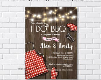 I Do BBQ Invitations, Wedding Shower Invites,  Couples Shower BBQ, Wedding Shower BBQ rustic, Engagement Party, apron - card 1130