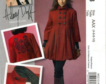 McCall's M5513 Hilary Duff Collection Sewing Pattern for Misses' Lined Coat - Uncut - Size 4, 6, 8, 10