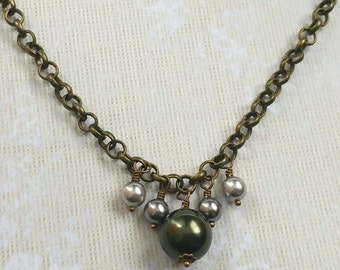 Olive Green and Gray Swarovski Crystal Pearls on Gold Plated Brass Chain