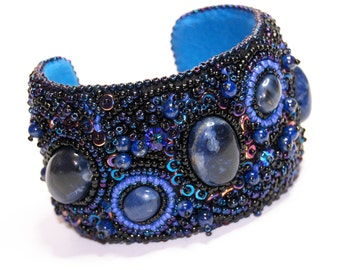 Bead Embroidered Cuff, Sodalite, Lapis Lazuli, Swarovski, One of a Kind, unique, Galaxy Bead Embroidered Cuff in shades of blue and black