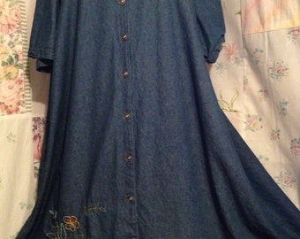 EXTRA LARGE,  Dress, Denim Embroidered Bohemian Hippie Flowerchild Long Maxi Dress