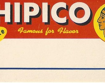 Chipico Pickles Vintage Blank Jar Label, 1950s