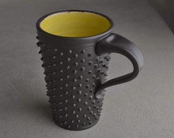 Tall Spiky Coffee Mug Ready To Ship Dangerously Spiky Travel Coffee Tea Mug Cup by Symmetrical Pottery