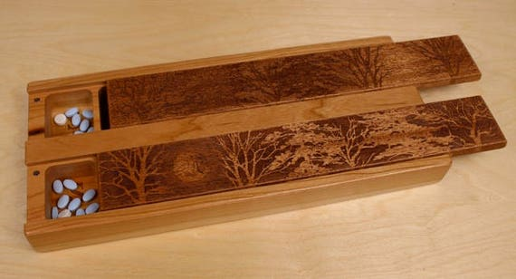 Tree of Life JUMBO Day/Night Weekly Pill Boxes, Pattern JV24, Mahogany top and Solid Cherry Bottom, Love Knot, Paul Szewc, Masterpiece Laser