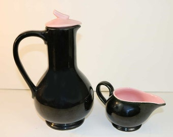 McCoy Coffee / Tea Pot and Creamer / MidCentury Black and Pink Pottery set