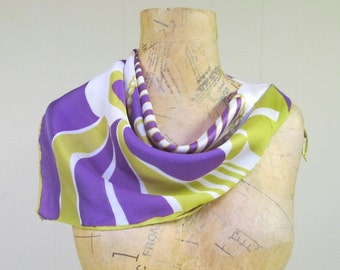 Vintage 1960s Scarf / 60s Abstract Pschedelic Square