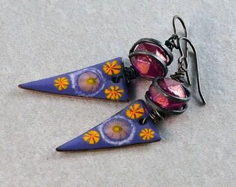 Boho Earrings Bohemian Earrings Gypsy Triangle Earrings Purple Yellow Pink Swirl Earrings