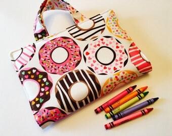 Travel Art Case - Crayon Travel Organizer - Kids Crayon Case - Crayon Holder - Donut Art Travel Case