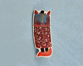 Red mister fox, illustrated jewelry, animal in suit, ceramic brooch