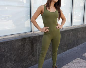 Olive Sleeveless Bodysuit, Unitard, Catsuit, Quality Spandex, Available in More Colors. Sizes S, M, L, XL