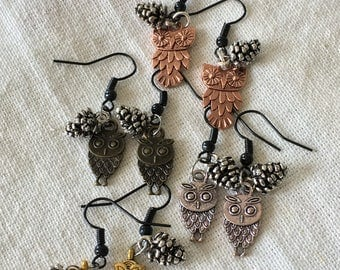 Pinecone Owl Earrings inspired by Twin Peaks. Choice of silver, copper, gold, or rustic metals.