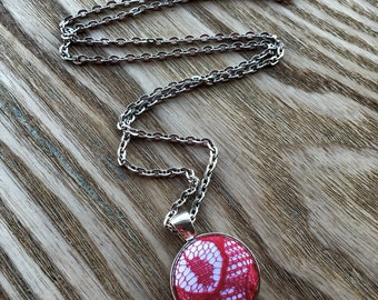 Red Lace Necklace, Handmade Buttons, Long Button Necklace, Pinup Inspired, Retro Necklace, Red And White Necklace