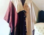 Upcycled Kimono Wrap/Boho Kimono Wrap Poncho/Petite to Plus Size/Ready to Ship