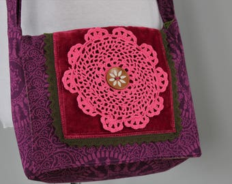 Upcycled Purple and Pink Doily Messenger Bag