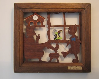 Pinocchio Wood Cut - Shadow Box Silhouette Art - Made by Acorn Woodcuts