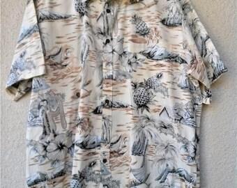 1990s Hawaiian SHIRT. Vintage Hawaiian Shirt. Men's Hawaiian Shirt. Cooke Street Hawaiian Shirt. Aloha Shirt. Hula Girl Print. Pineapple. XL