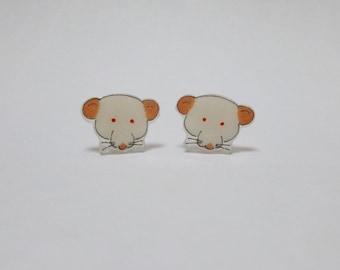 Fancy Rat Earrings Rat Studs Dumbo PEW Albino Rat Pet Rat Jewellery