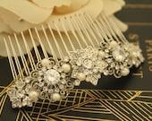 Rhinestone hair accessories,Pearl Hair comb,Crystal Bridal comb,Wedding hair accessories,Rhinestone Wedding comb,Boho Headpiece,Wedding clip