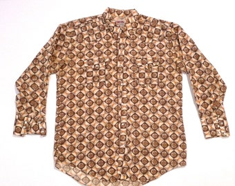 Denver Western Shirt Vintage Pearl Snap Brown Flower Shirt Size Large Long tail Floral Checker Rockabilly Hippie Cosmic Cowboy Psychedelic