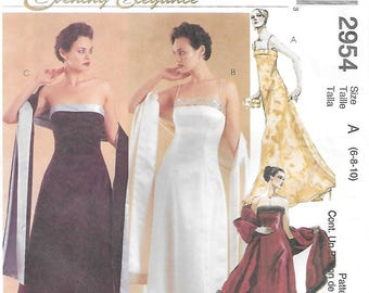 McCall's 2954 Evening Elegance Lined Dress and Stole Sewing Pattern Size 6 8 10 Bust 30 1/2 to 32 1/2