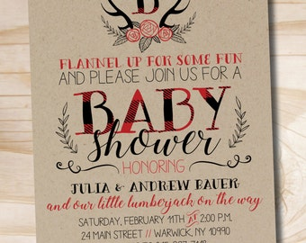 Lumberjack Baby Shower Invitation, Buffalo Plaid Baby Shower Invitation, Rustic Antler Baby Shower Invitation - Digital or Printed Invites