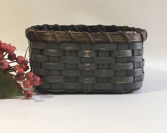 Napkin Basket-Fruit Basket-Bread Basket-Handwoven Basket-Square Basket-Rustic-Primitive