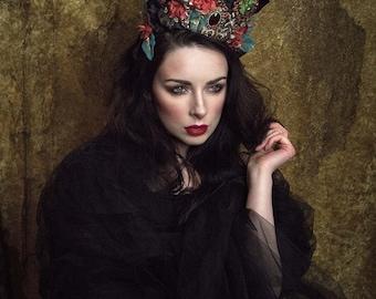 Black, Gold, Red & Blue 'Dark Garden' Crystal Crown Headpiece