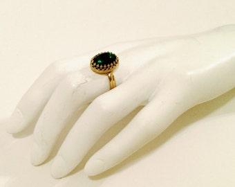 emerald ring green ring gold stone ring may birthstone gemstone ring cocktail ring stacking ring bridesmaid gift | Florence cocktail ring