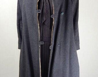 Original 1940s Vintage Grey Wool Fur Lined Overcoat UK Size 12/14