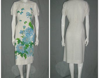 1960s Shaheen Hawaiian Linen Tiki Dress Vintage Wiggle Sundress Hostess Gown Flowers Volup Polynesian Tiki Oasis
