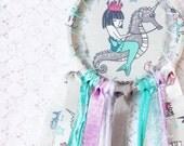 Mermaid Riding Seahorse Dream Catcher, Nursery Decor, Turquoise, Purple & Grey, Shabby Chic Dreamcatcher, Baby Room, Mermaid Birthday