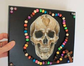 One of a kind Skeleton skull head artwork mixed media 3d with rainbow wooden rosary / Mexican Mexico Folk art Original/