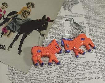 Hand Painted Statement Earrings, Colorful Zebra, Equine Earrings, Orange and Purple, Animal Earrings, Paper Machet, African Animal Earrings