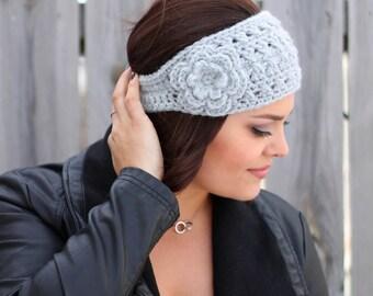 Woman's Crochet Boho Headband with Flower in Light Grey- Ear Warmer