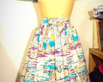 New York City Scenic Novelty Print Skirt Made to Measure from Vintage Hoffman Fabric 1986