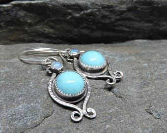 Turquoise and opal earrings, Sterling Silver Wrought iron style scrollwork, hammered silver earrings, Artisan Made, Handmade Earrings,