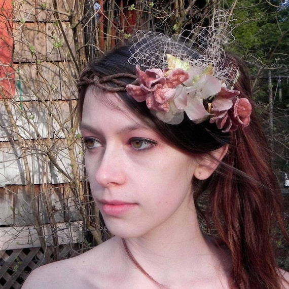 Dusty Pink Vintage Velvet Flower Wedding Headpiece, Rustic Flower Crown, Woodland Bridal Hair Wreath, Velvet Leaves and Millinery Veiling