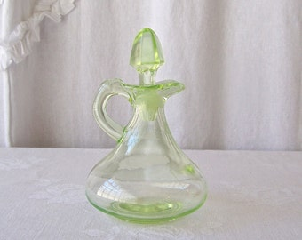 Vintage Cruet Vaseline Glass Green Kitchen Decanter Shabby Cottage Decor 1930s