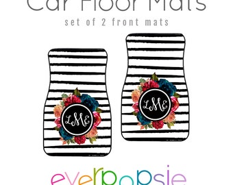 Car Floor Mats Personalized Monogram Black and White Stripes and Flowers