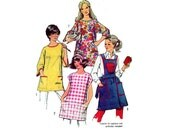 """Vintage Apron and Smock Sewing Pattern Full Apron or Artist Smock plus Potholder 70s Size 16-18 Bust 38-40"""" (97-99 cm) Simplicity 5377 G"""