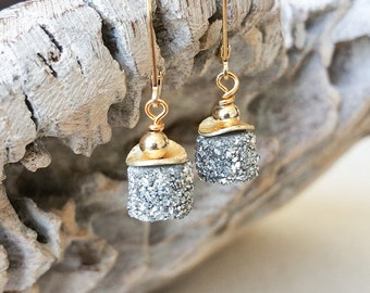 Druzy Earrings, Silver Druzy Earrings, Gold Silver Druzy Earrings, Druzy Earrings Silver, Druzy Earrings Gold, Real Silver Druzy Earrings