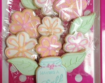 Ball Jar of flowers - sugar cookies