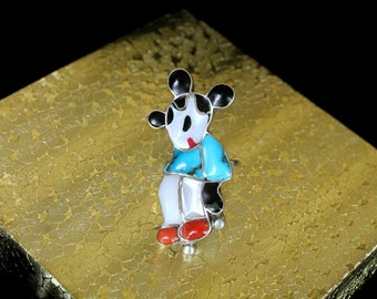 RESERVED Rare! Mickey Mouse Zuni Ring / Native American Southwest ZUNITOON Inlaid Stone and Silver Ring